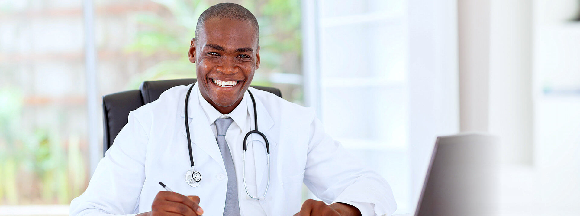 healthcare professional smiling